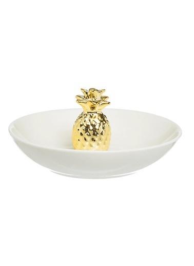 Warm Design Ananas Motifli Yüzüklük Altın